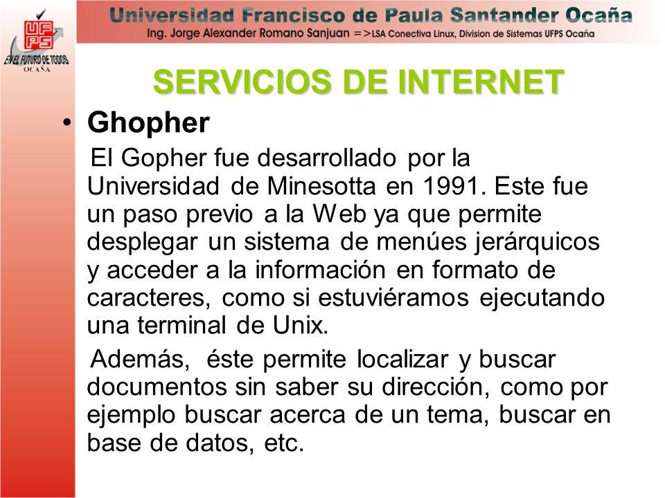 Ghopher El Gopher fue desarrollado por la Universidad de Minesotta en 1991. Este fue un paso previo a la Web ya que permite desplegar un sistema de me