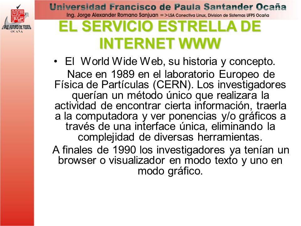 El World Wide Web, su historia y concepto. Nace en 1989 en el laboratorio Europeo de Física de Partículas (CERN). Los investigadores querían un método