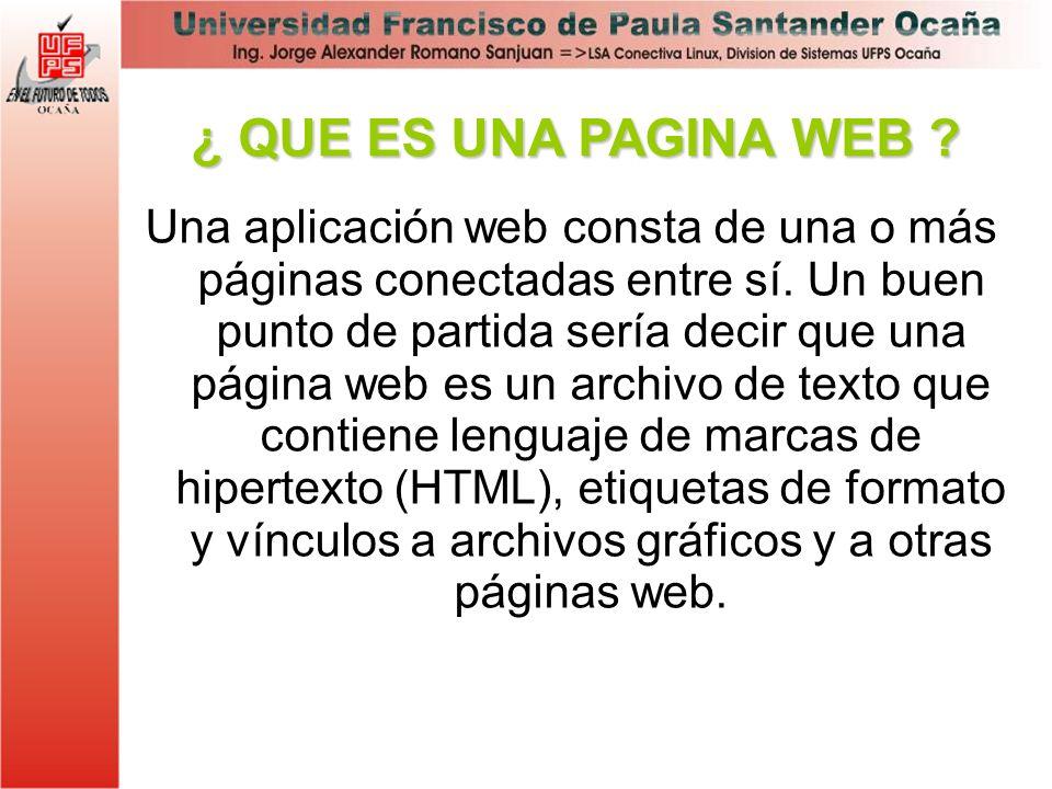 Una aplicación web consta de una o más páginas conectadas entre sí. Un buen punto de partida sería decir que una página web es un archivo de texto que
