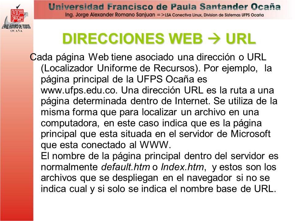Cada página Web tiene asociado una dirección o URL (Localizador Uniforme de Recursos). Por ejemplo, la página principal de la UFPS Ocaña es www.ufps.e