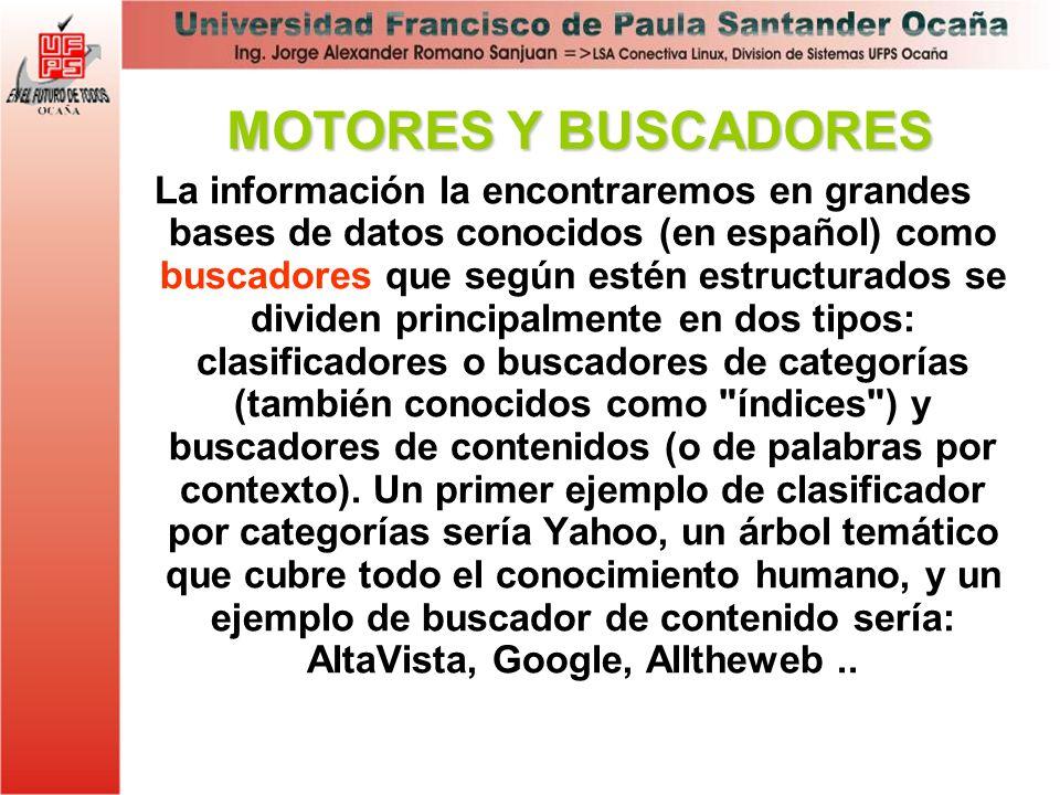 La información la encontraremos en grandes bases de datos conocidos (en español) como buscadores que según estén estructurados se dividen principalmen