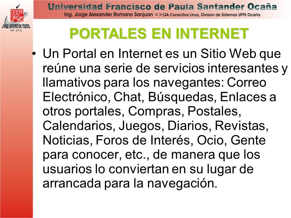 Un Portal en Internet es un Sitio Web que reúne una serie de servicios interesantes y llamativos para los navegantes: Correo Electrónico, Chat, Búsque