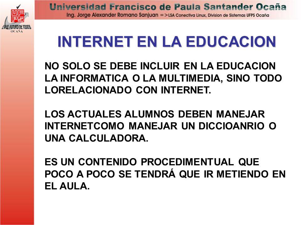 INTERNET EN LA EDUCACION NO SOLO SE DEBE INCLUIR EN LA EDUCACION LA INFORMATICA O LA MULTIMEDIA, SINO TODO LORELACIONADO CON INTERNET. LOS ACTUALES AL