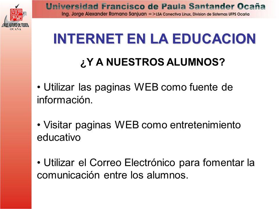 INTERNET EN LA EDUCACION ¿Y A NUESTROS ALUMNOS? Utilizar las paginas WEB como fuente de información. Visitar paginas WEB como entretenimiento educativ