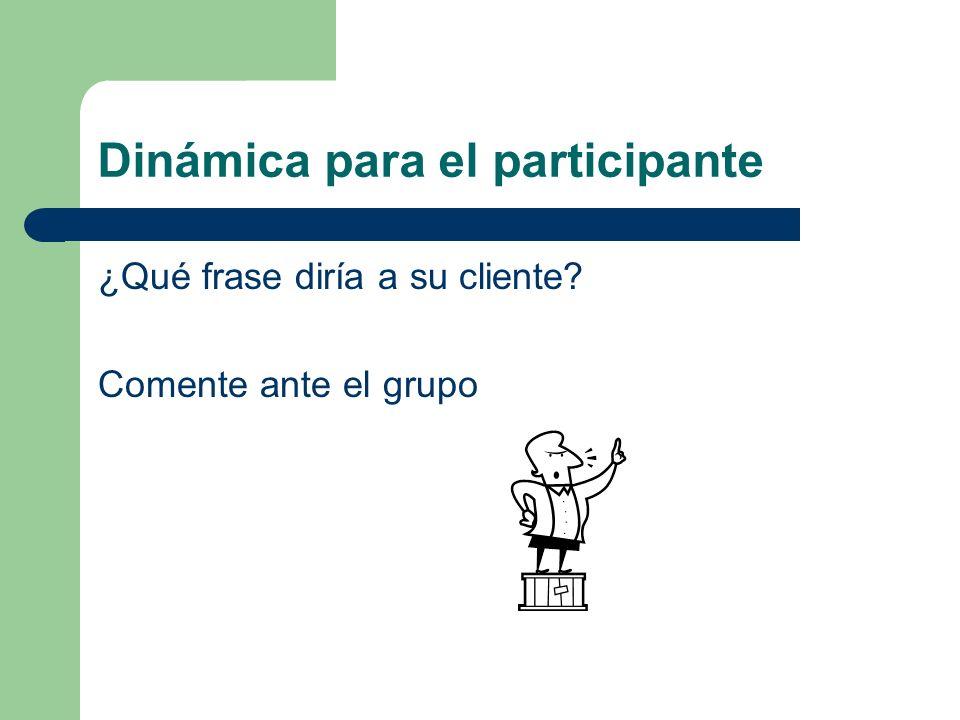 Dinámica para el participante ¿Qué frase diría a su cliente? Comente ante el grupo