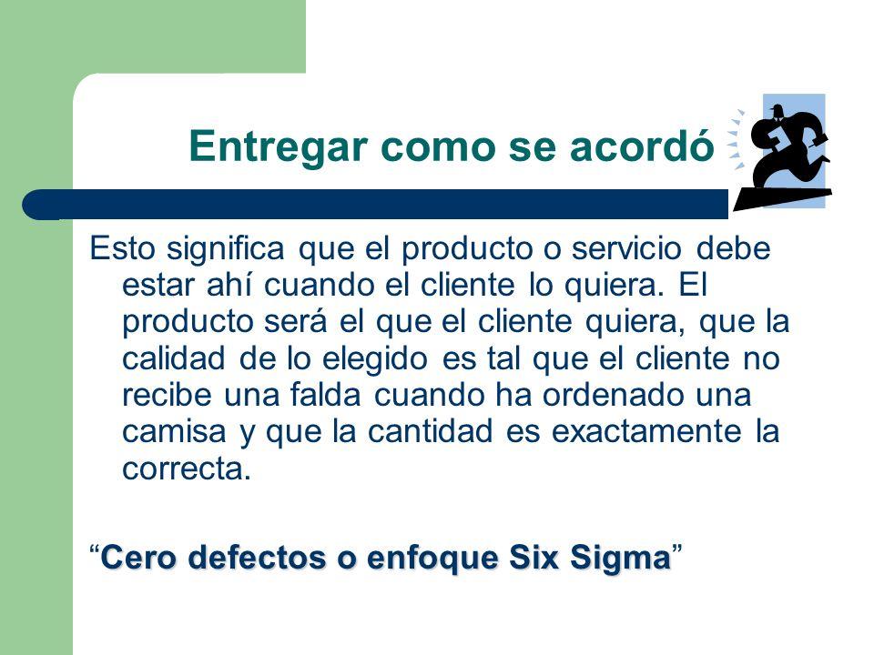 Entregar como se acordó Esto significa que el producto o servicio debe estar ahí cuando el cliente lo quiera. El producto será el que el cliente quier