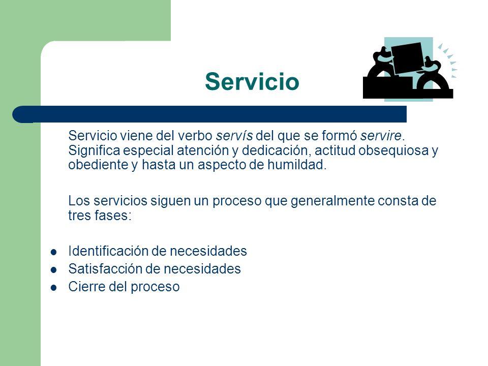 Servicio Servicio viene del verbo servís del que se formó servire. Significa especial atención y dedicación, actitud obsequiosa y obediente y hasta un