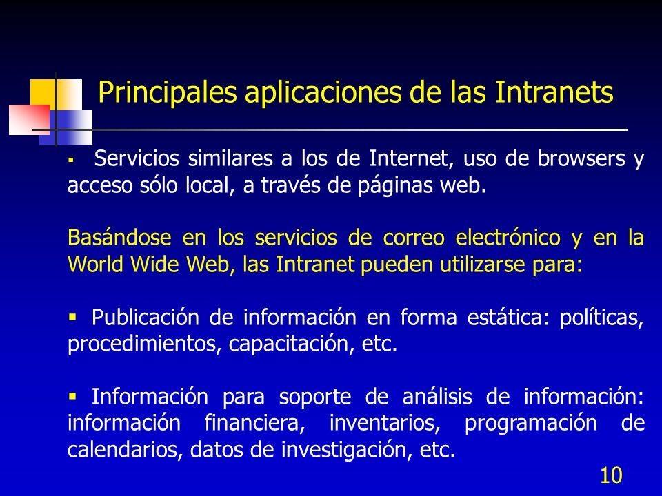 10 Principales aplicaciones de las Intranets Servicios similares a los de Internet, uso de browsers y acceso sólo local, a través de páginas web. Basá