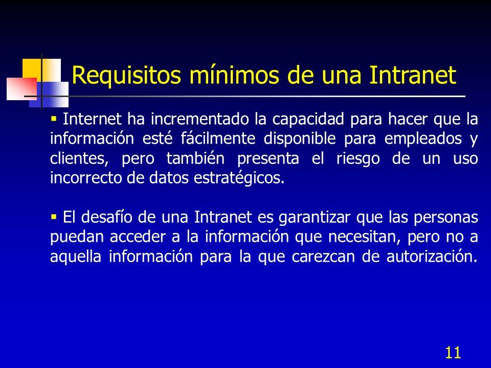 11 Requisitos mínimos de una Intranet Internet ha incrementado la capacidad para hacer que la información esté fácilmente disponible para empleados y