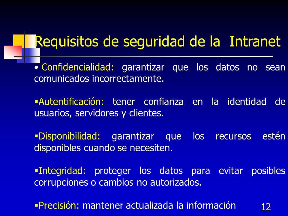 12 Requisitos de seguridad de la Intranet Confidencialidad: garantizar que los datos no sean comunicados incorrectamente. Autentificación: tener confi