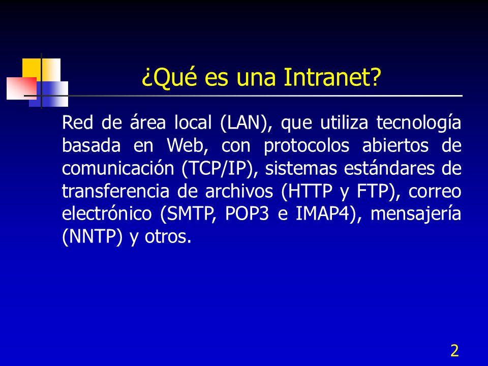 2 ¿Qué es una Intranet? Red de área local (LAN), que utiliza tecnología basada en Web, con protocolos abiertos de comunicación (TCP/IP), sistemas está