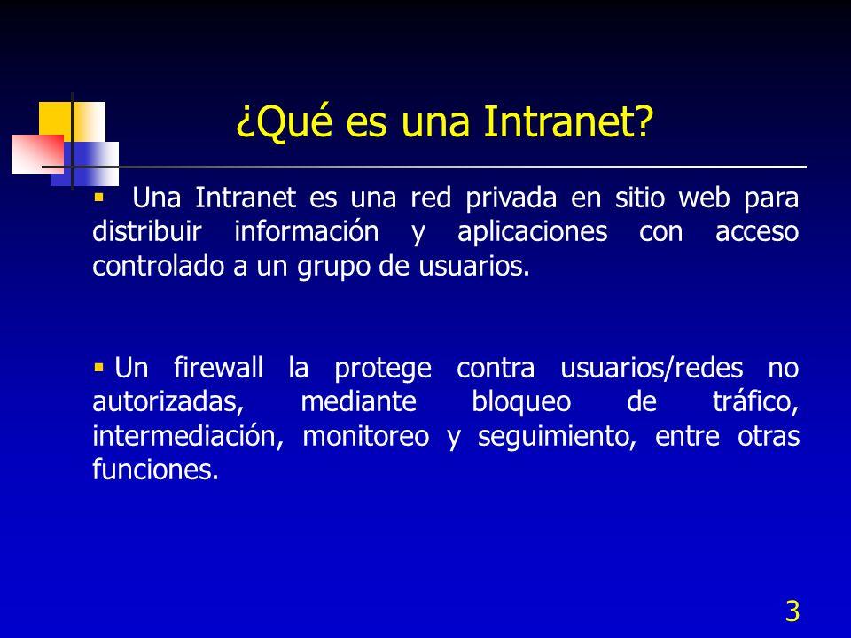 3 ¿Qué es una Intranet? Una Intranet es una red privada en sitio web para distribuir información y aplicaciones con acceso controlado a un grupo de us