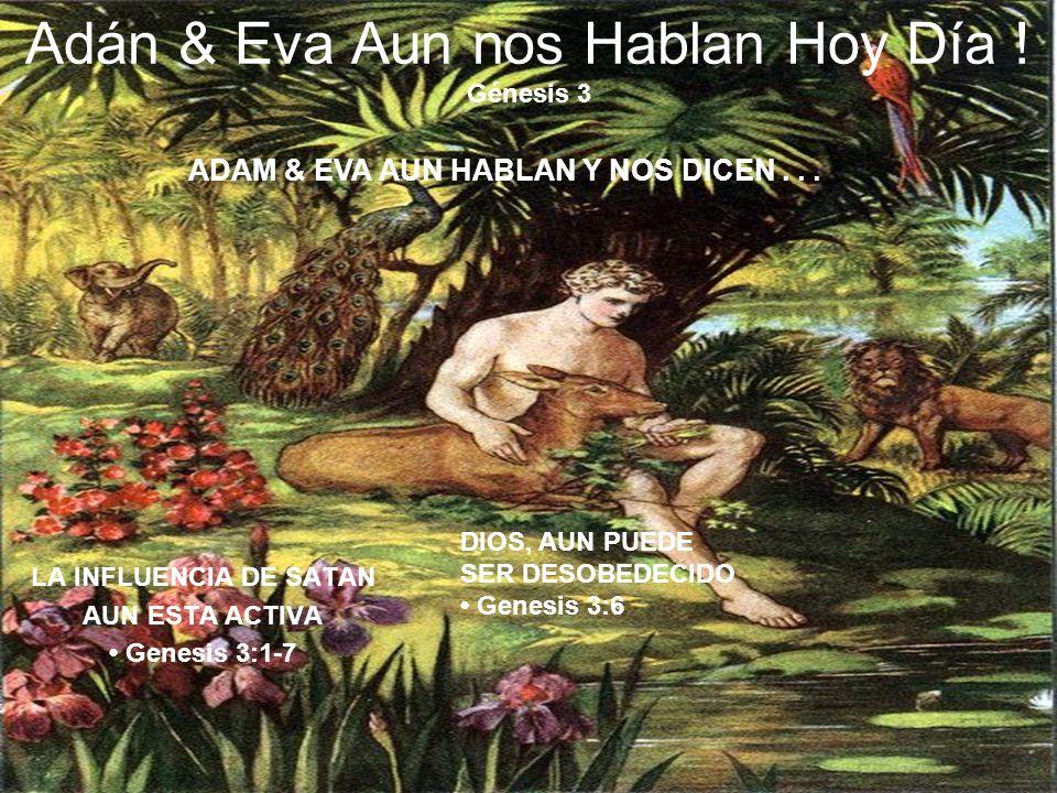 Adán & Eva Aun nos Hablan Hoy Día ! Génesis 3 LA INFLUENCIA DE SATAN AUN ESTA ACTIVA Genesis 3:1-7 DIOS, AUN PUEDE SER DESOBEDECIDO Genesis 3:6 ADAM &
