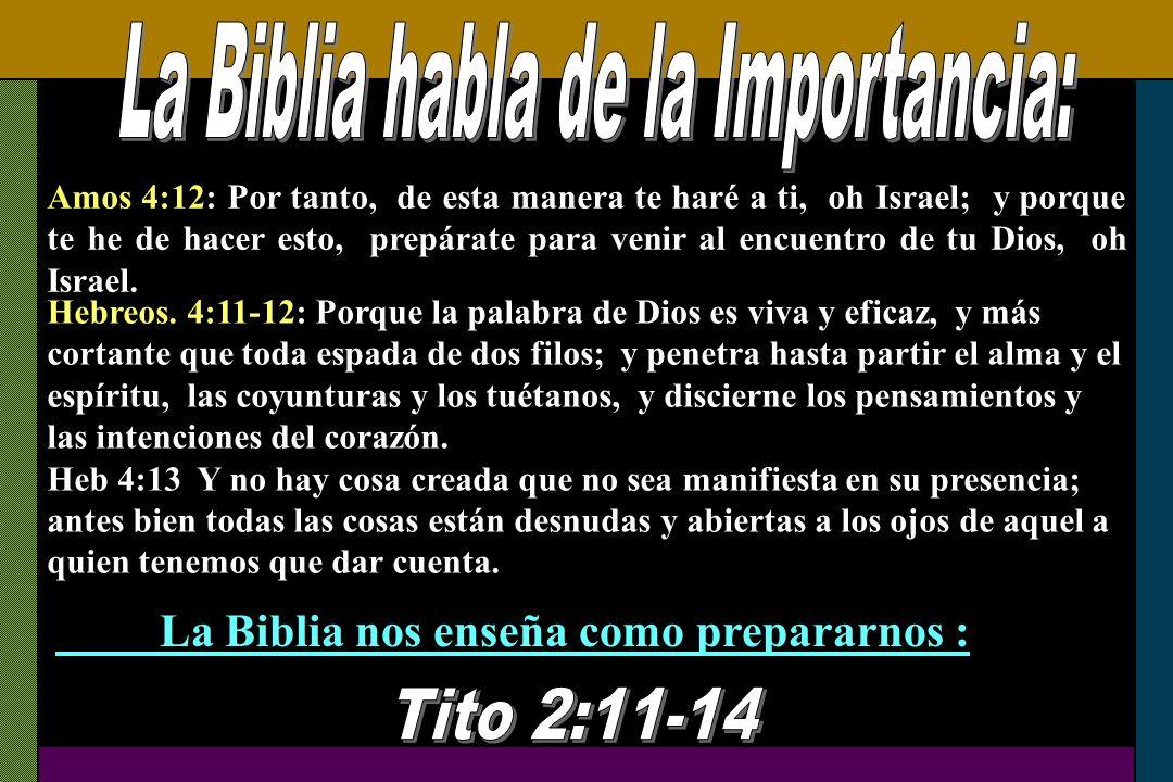 Amos 4:12: Por tanto, de esta manera te haré a ti, oh Israel; y porque te he de hacer esto, prepárate para venir al encuentro de tu Dios, oh Israel. H