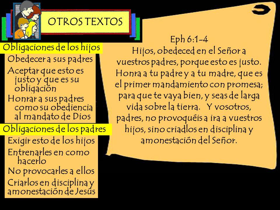 Eph 6:1-4 Hijos, obedeced en el Señor a vuestros padres, porque esto es justo. Honra a tu padre y a tu madre, que es el primer mandamiento con promesa