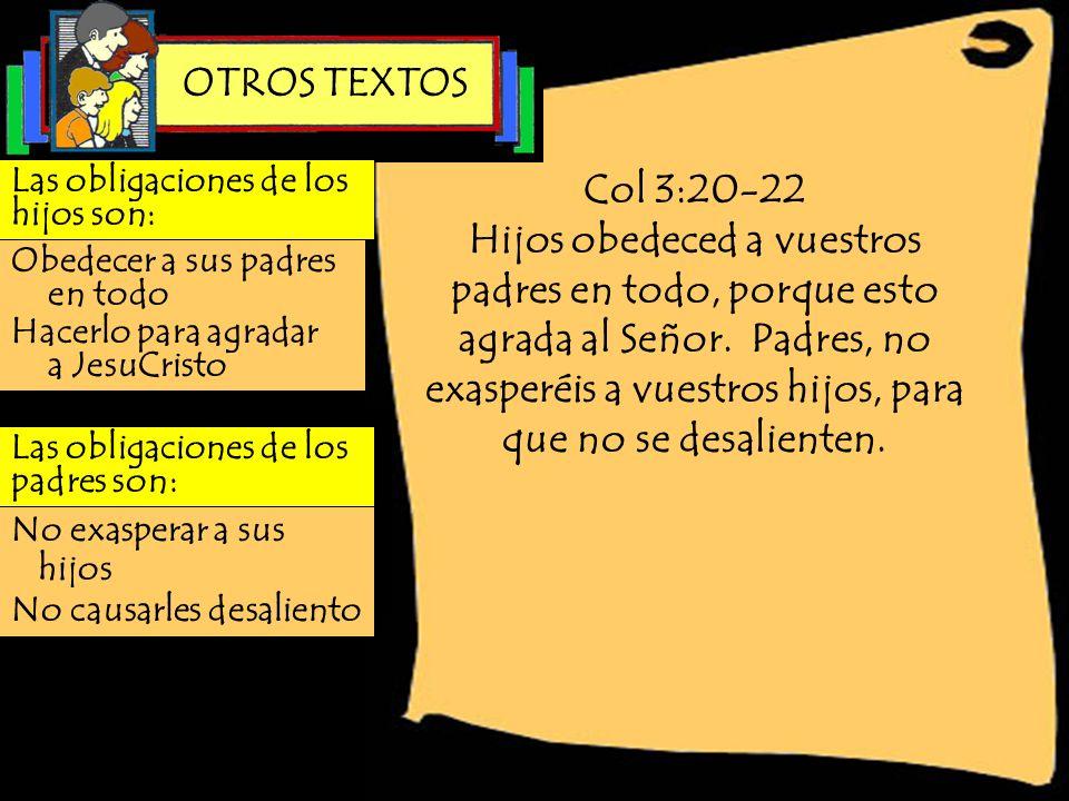 Col 3:20-22 Hijos obedeced a vuestros padres en todo, porque esto agrada al Señor. Padres, no exasperéis a vuestros hijos, para que no se desalienten.