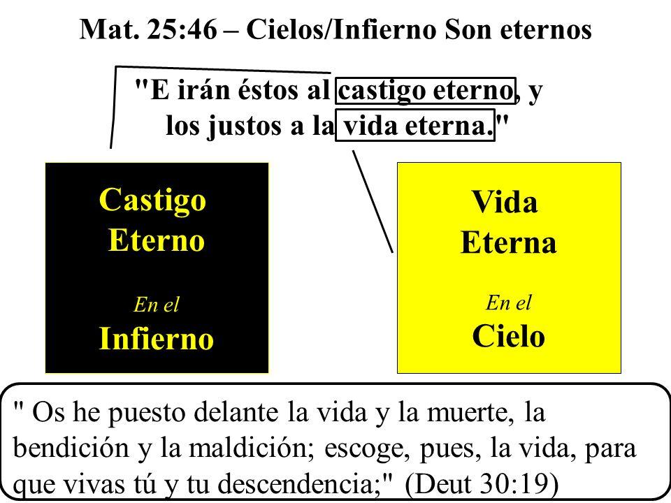 E irán éstos al castigo eterno, y los justos a la vida eterna. Mat.