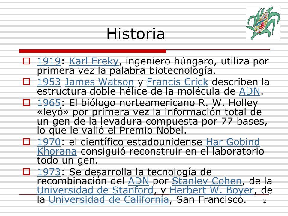 3 1976: Har Gobind Khorana sintetiza una molécula de ácido nucleico compuesta por 206 bases.