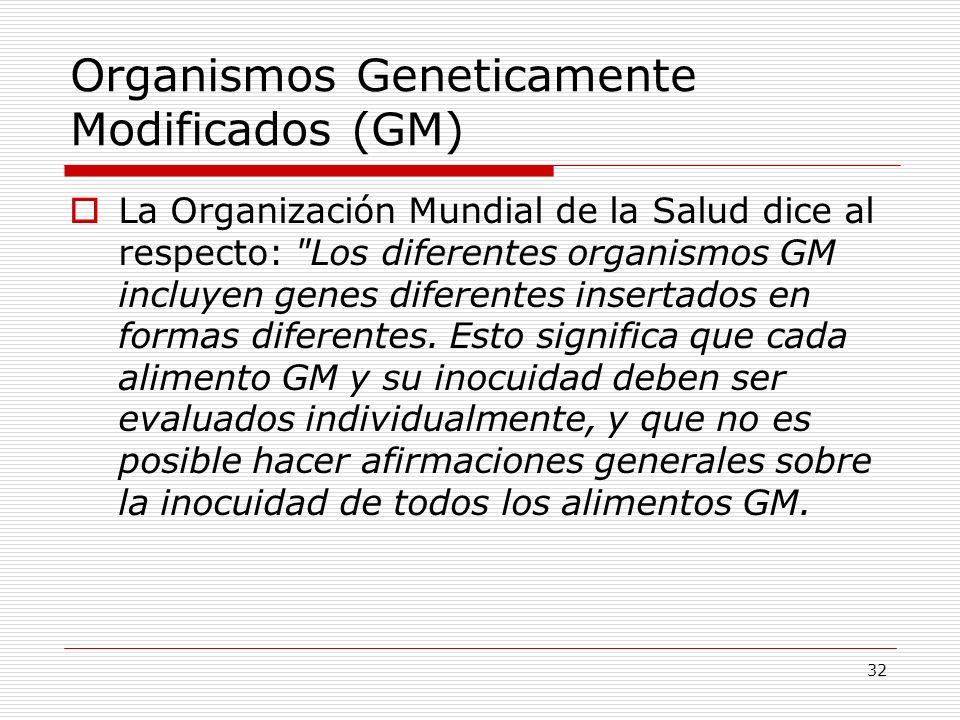 33 Los alimentos GM actualmente disponibles en el mercado internacional han pasado las evaluaciones de riesgo y no es probable que presenten riesgos para la salud humana.