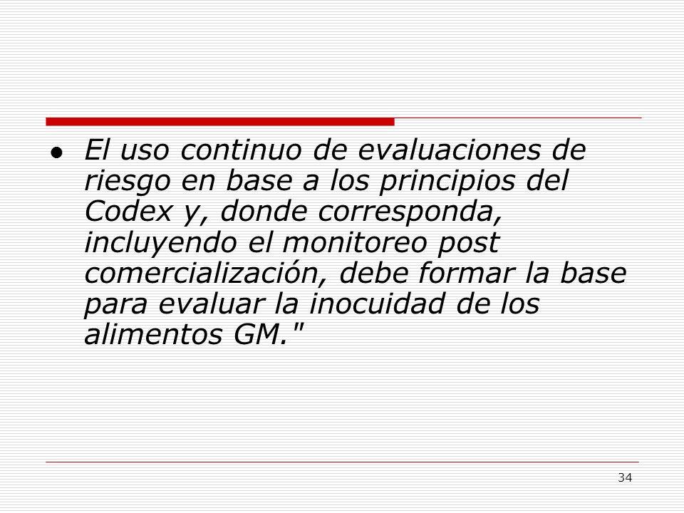 34 El uso continuo de evaluaciones de riesgo en base a los principios del Codex y, donde corresponda, incluyendo el monitoreo post comercialización, d