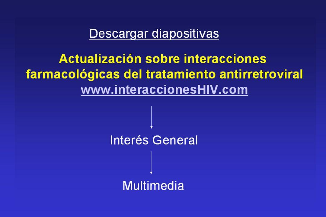 Vías de eliminación (I) Flexner C, Piscitelli SC.Managing drug-drug interactions in HIV.