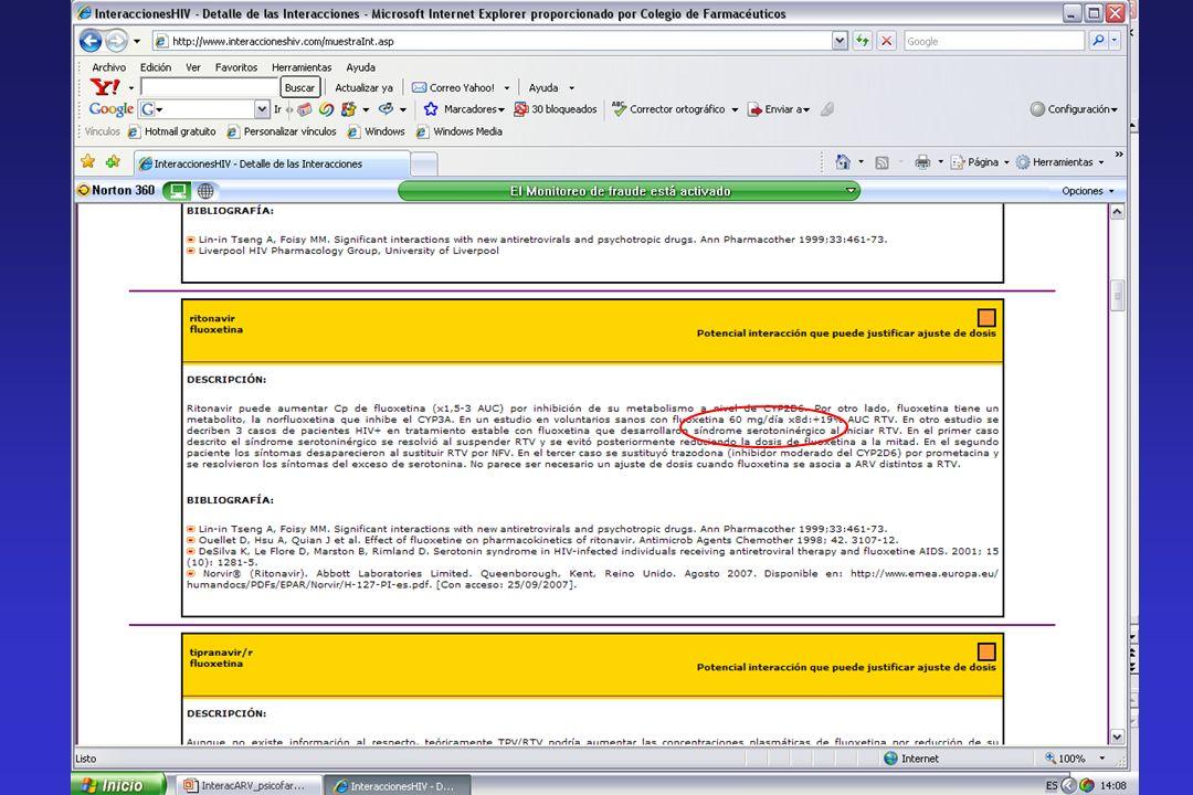 Interacciones etanol - Efecto Antabús Contenido en etanol de: Norvir® solución oral (43% v/v) Norvir cápsulas (12% p/p) Kaletra® solución oral (42%) Aptivus cápsulas (7% p/p =100 mg/cáps) Contenido en propilenglicol de: Agenerase® solución oral (550 mg/mL).