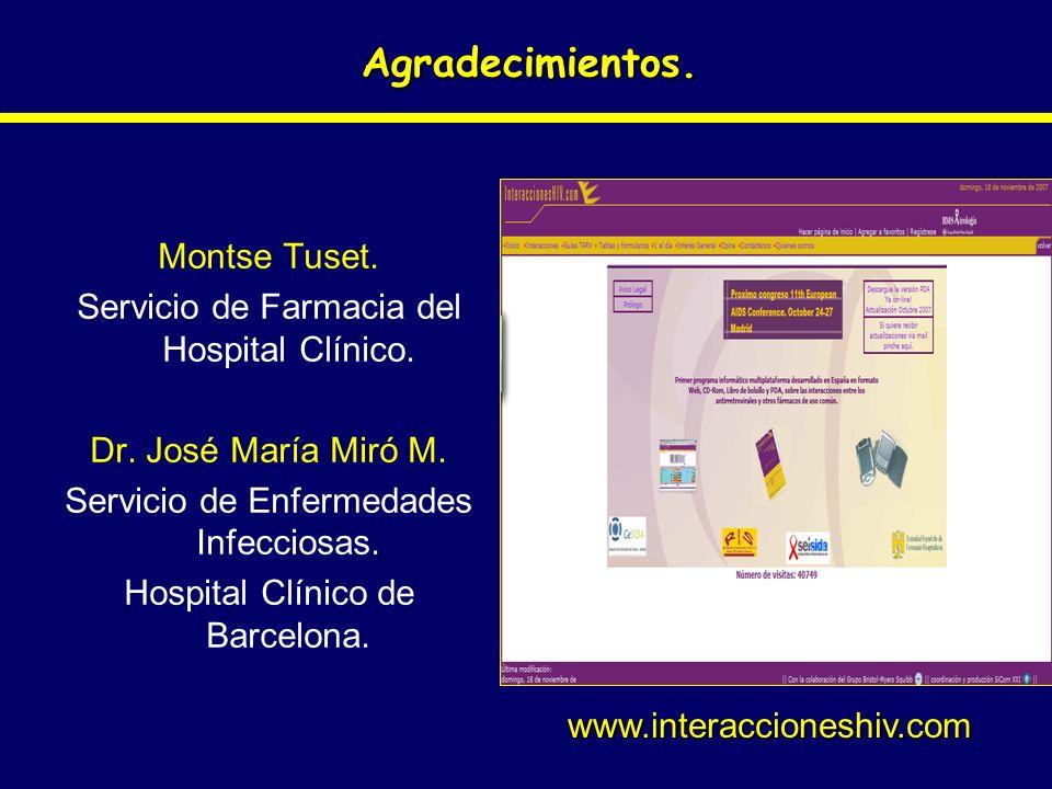 Agradecimientos. Montse Tuset. Servicio de Farmacia del Hospital Clínico. Dr. José María Miró M. Servicio de Enfermedades Infecciosas. Hospital Clínic