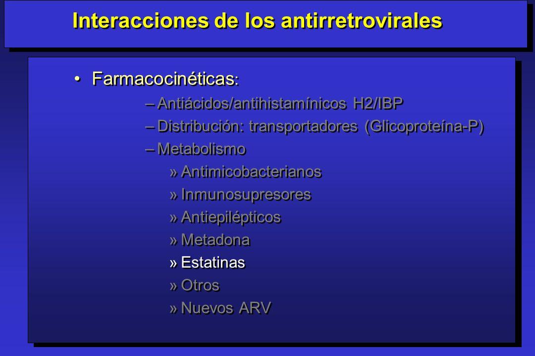 Farmacocinéticas : –Antiácidos/antihistamínicos H2/IBP –Distribución: transportadores (Glicoproteína-P) –Metabolismo »Antimicobacterianos »Inmunosupre