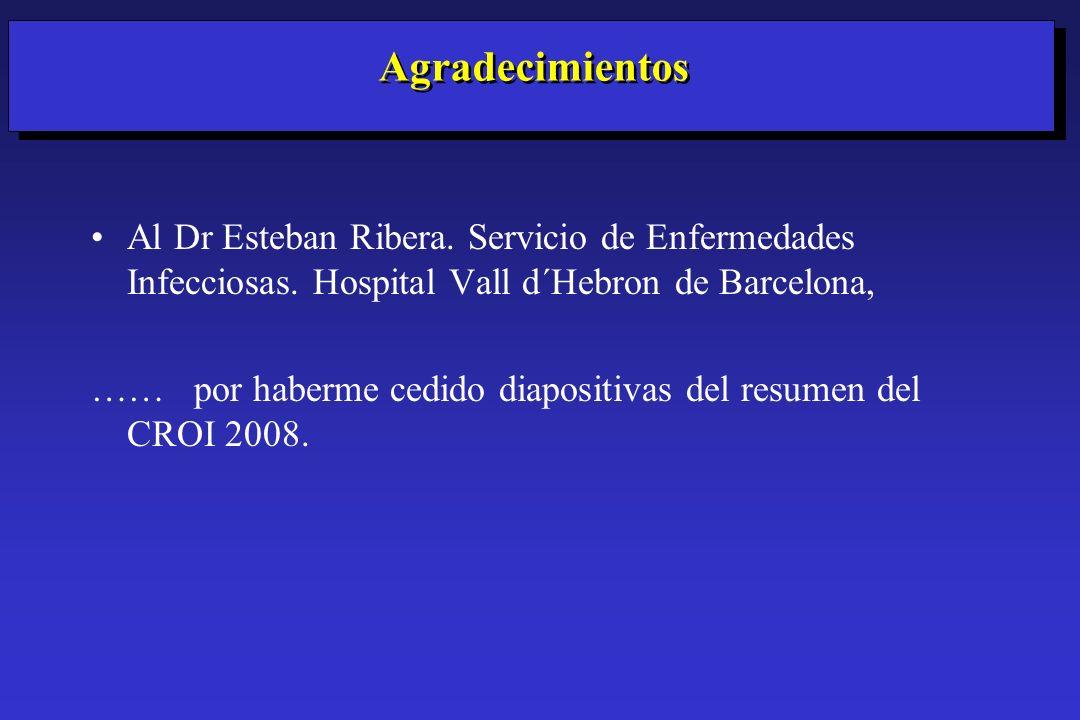 Al Dr Esteban Ribera. Servicio de Enfermedades Infecciosas. Hospital Vall d´Hebron de Barcelona, …… por haberme cedido diapositivas del resumen del CR