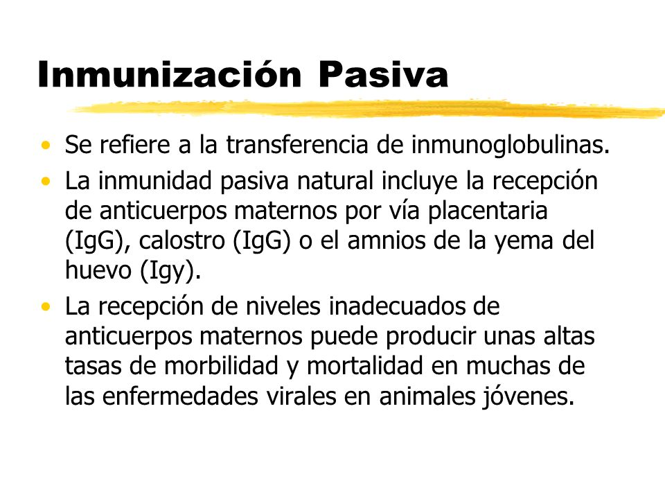 Inmunización Pasiva Se refiere a la transferencia de inmunoglobulinas. La inmunidad pasiva natural incluye la recepción de anticuerpos maternos por ví