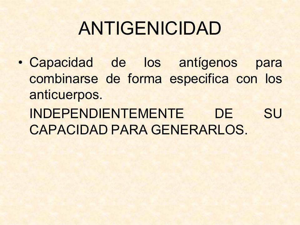 ANTIGENICIDAD Capacidad de los antígenos para combinarse de forma especifica con los anticuerpos. INDEPENDIENTEMENTE DE SU CAPACIDAD PARA GENERARLOS.
