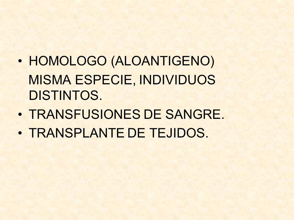 HOMOLOGO (ALOANTIGENO) MISMA ESPECIE, INDIVIDUOS DISTINTOS. TRANSFUSIONES DE SANGRE. TRANSPLANTE DE TEJIDOS.