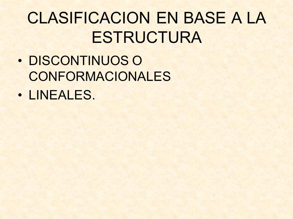 CLASIFICACION EN BASE A LA ESTRUCTURA DISCONTINUOS O CONFORMACIONALES LINEALES.