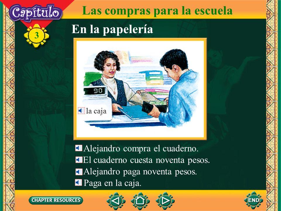 Las compras para la escuela Alejandro habla con la dependienta. 3 Noventa pesos. la dependienta, la empleada ¿El cuaderno? ¿Cuánto es, por favor? En l