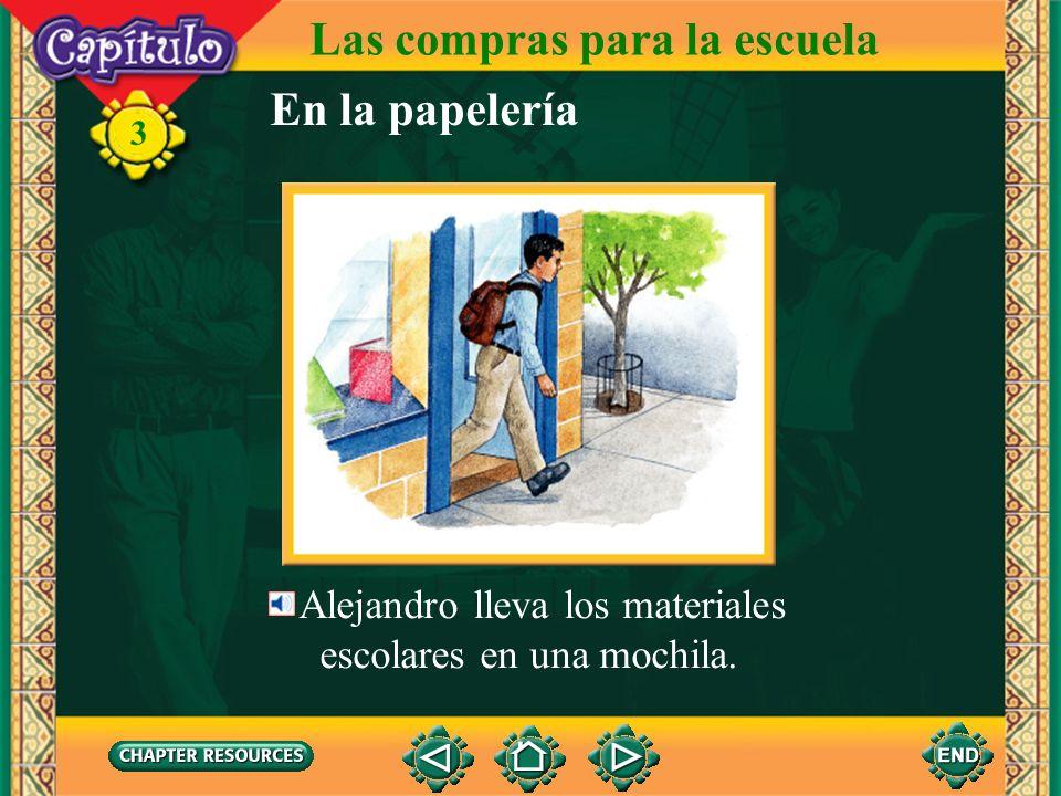 Las compras para la escuela Alejandro compra el cuaderno. 3 la caja El cuaderno cuesta noventa pesos. Alejandro paga noventa pesos. Paga en la caja. E