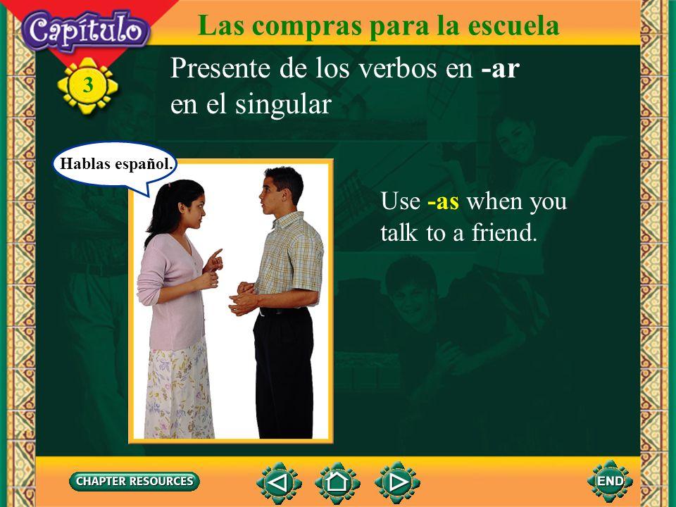 3 Use -o when you talk about yourself. Las compras para la escuela Hablo español. Presente de los verbos en -ar en el singular