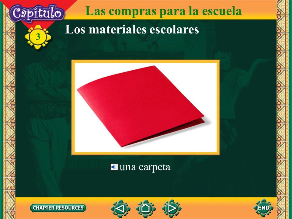 Los materiales escolares un cuaderno, un bloc 3