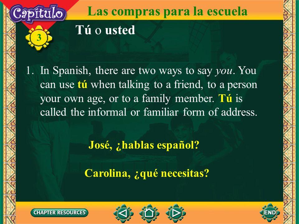 3 Las compras para la escuela Complete. 4. Alejandra ______ en la caja. (pagar) Answer: paga 5. Yo ______ una blusa negra. (buscar) Answer: busco
