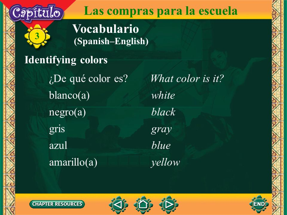 Vocabulario Describing clothes largo(a)long 3 Las compras para la escuela corto(a)short (Spanish–English)