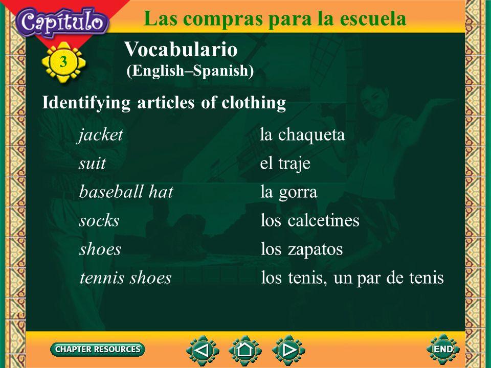 Vocabulario Identifying articles of clothing la ropaclothing 3 Las compras para la escuela el pantalón la camisa la corbata el T-shirt, la camiseta el