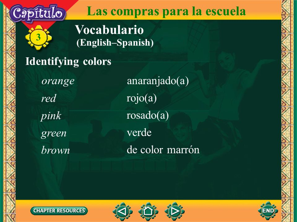 Vocabulario Identifying colors ¿De qué color es?What color is it? 3 Las compras para la escuela blanco(a) negro(a) gris azul amarillo(a) white black g
