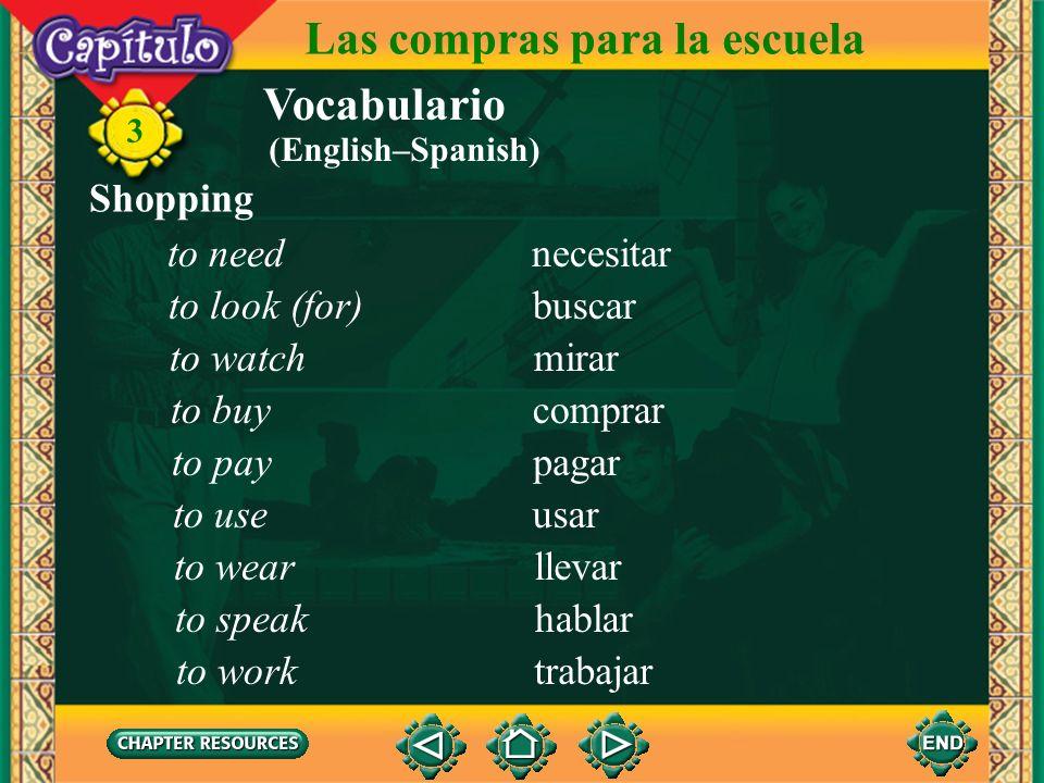 Vocabulario Shopping el/la dependiente(a) shop clerk 3 Las compras para la escuela el/la empleado(a) la caja la talla, el tamaño el número barato(a) c