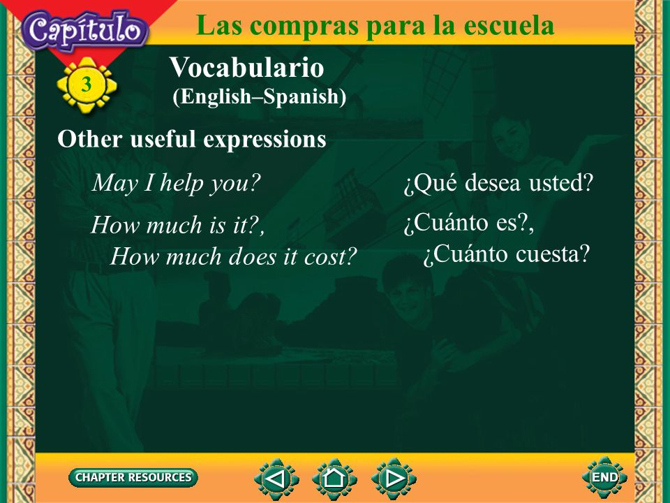 Vocabulario Shopping necesitarto need 3 Las compras para la escuela buscarto look (for) mirarto watch comprarto buy pagarto pay usarto use llevarto we