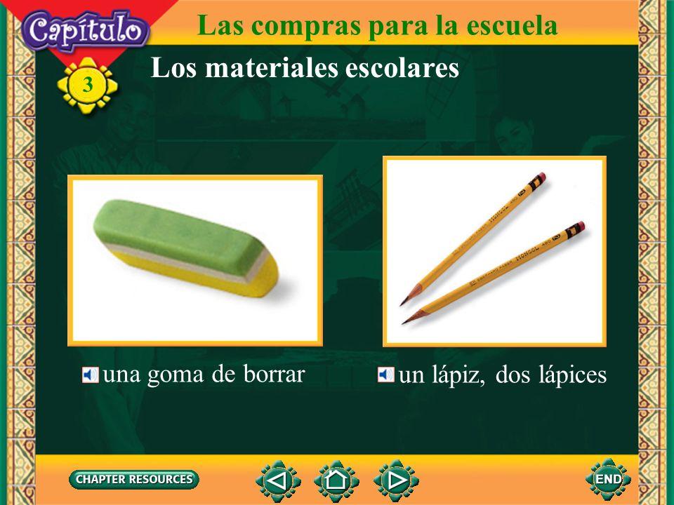 Las compras para la escuela Los materiales escolares un marcador 3 un bolígrafo, una pluma