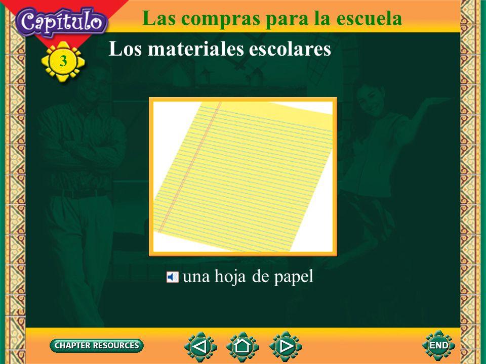 Las compras para la escuela Los materiales escolares una goma de borrar 3 un lápiz, dos lápices