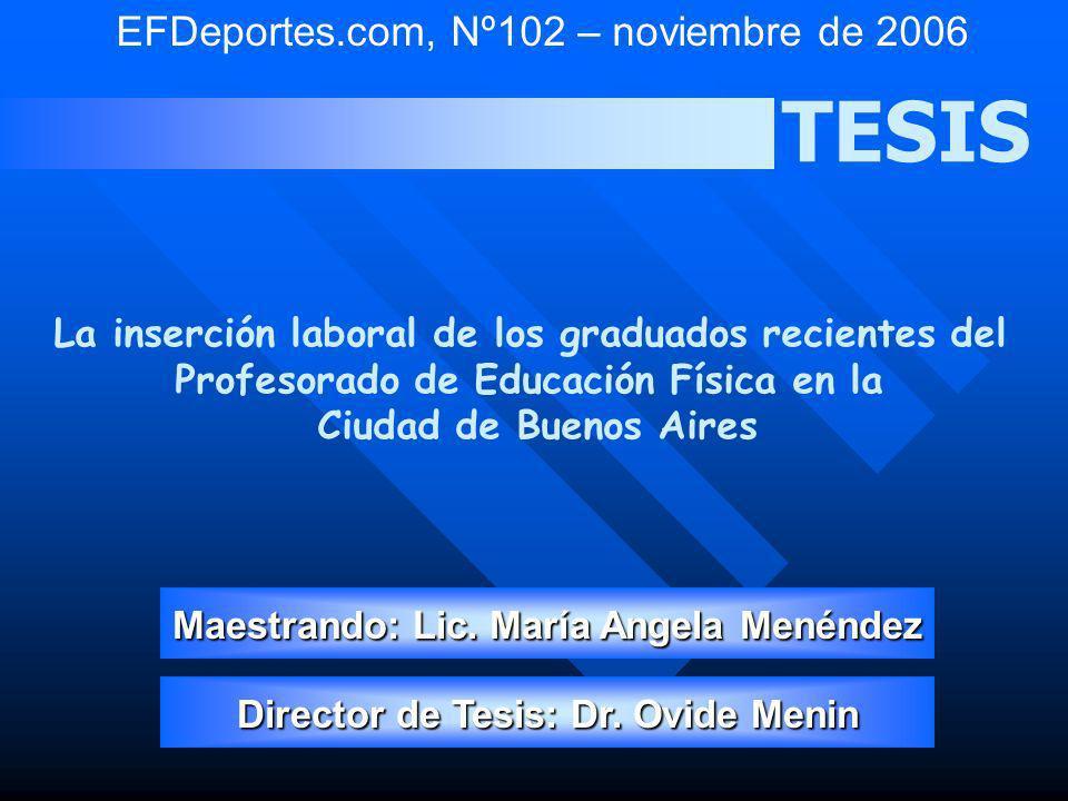 TESIS La inserción laboral de los graduados recientes del Profesorado de Educación Física en la Ciudad de Buenos Aires Maestrando: Lic. María Angela M