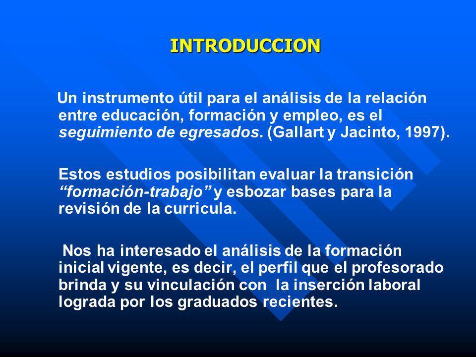INTRODUCCION Un instrumento útil para el análisis de la relación entre educación, formación y empleo, es el seguimiento de egresados. (Gallart y Jacin