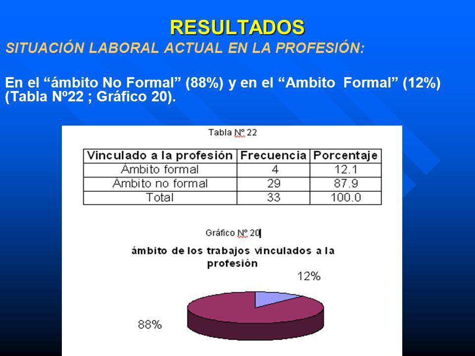 RESULTADOS SITUACIÓN LABORAL ACTUAL EN LA PROFESIÓN: En el ámbito No Formal (88%) y en el Ambito Formal (12%) (Tabla Nº22 ; Gráfico 20).
