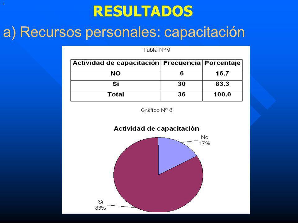 RESULTADOS a) Recursos personales: capacitación