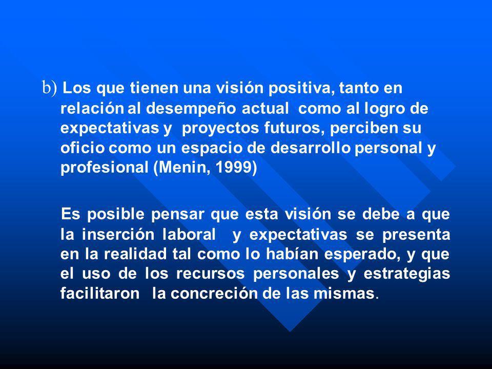 b) Los que tienen una visión positiva, tanto en relación al desempeño actual como al logro de expectativas y proyectos futuros, perciben su oficio com